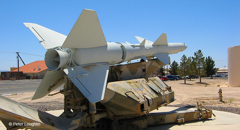 SA-2 Guideline surface-to-air missile on a launcher on display at a US Air Force base