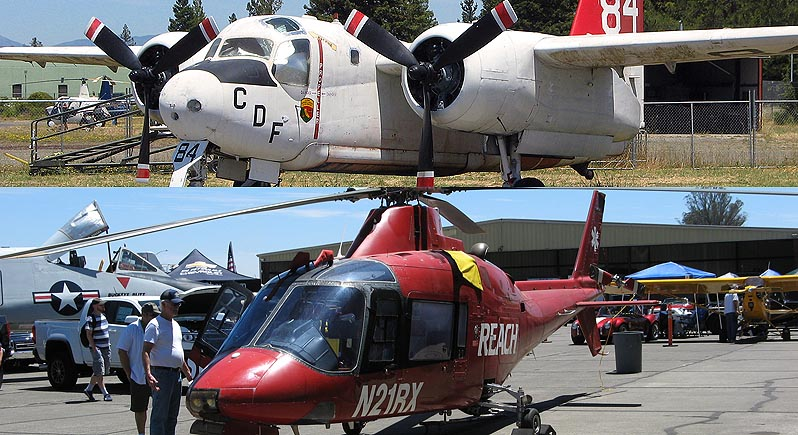 composite photo of an S-2 firefighting aerial tanker on the ground, and a REACH aerial ambulance helicopter on the ground at an air show.