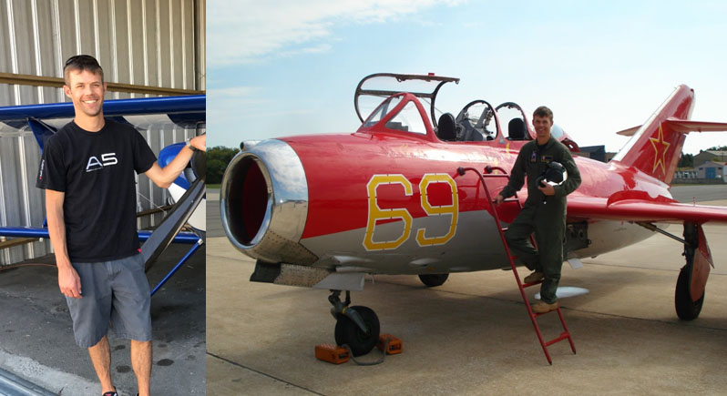 composite image of a test pilot standing at the nose of a biplane, and another image of him standing on the boarding steps of a MiG-15 soviet jet fighter plane