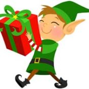 illustration of a small elf dressed in green carrying a large red holiday gift