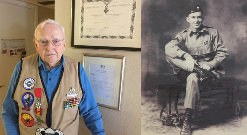 composite photo of elderly man with military ribbons, next to a formal portrait of him in World War II