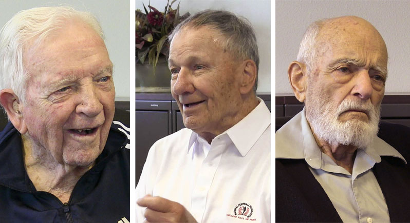 montage photo of three elderly veterans being interviewed