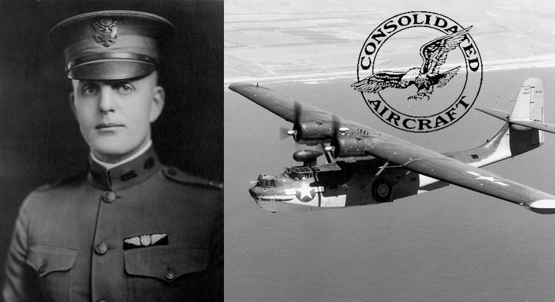 Photo collage of 1920s US Army Air Corps officer, PBY Catalina airplane, and Consolidated Aircraft corporate logo