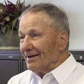 close-up photo of elderly veteran being interviewed