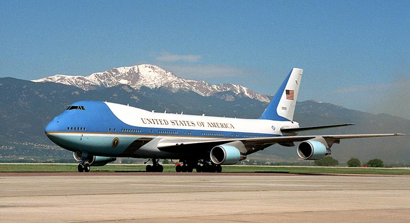 US President's jet Air Force One on the ground