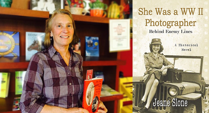Composite image of author Jeane Slone and the cover of her latest book