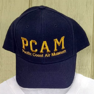 close-up photo of blue PCAM ball cap.