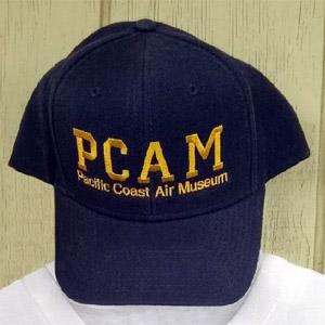 close-up photo of blue PCAM ball cap.