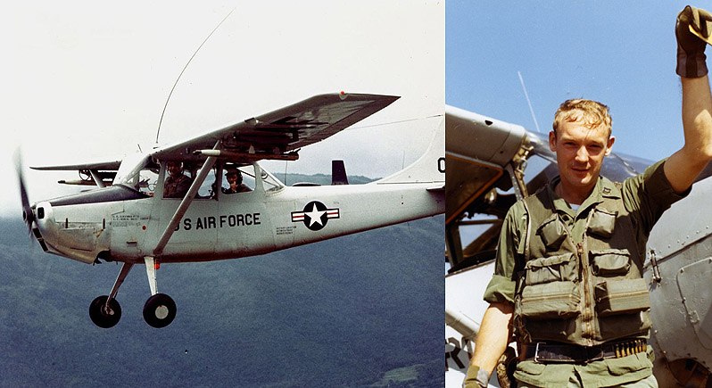 Composite photo of O-1 Cessna FAC in flight and an O-1 pilot standing next to his plane