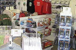 Shirts, toys, and other merchandise on display at the Gift Shop of the Pacific Coast Air Museum