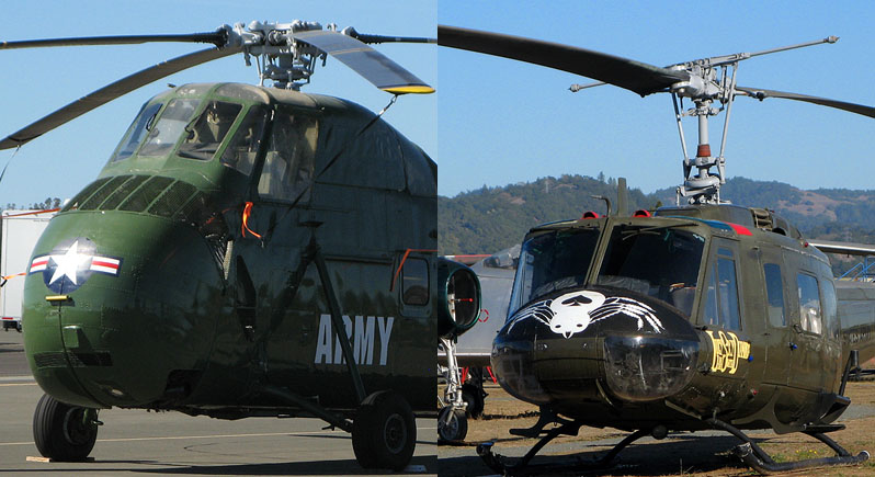 composite photo of two helicopters - H-34 Choctaw on left and UH-1H Huey on right.