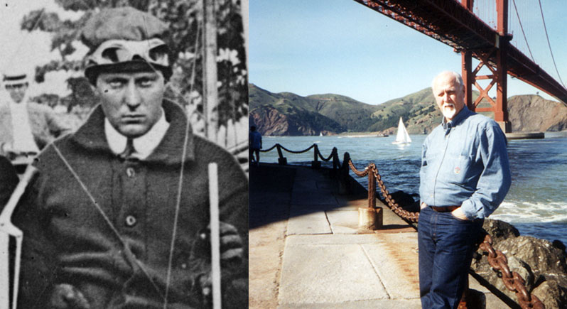 composite photo of early aviation pioneer Bob Fowler and speaker Roy Mize
