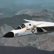 RA-5C Vigilante jet combat plane in flight, close-up view of cockpit area