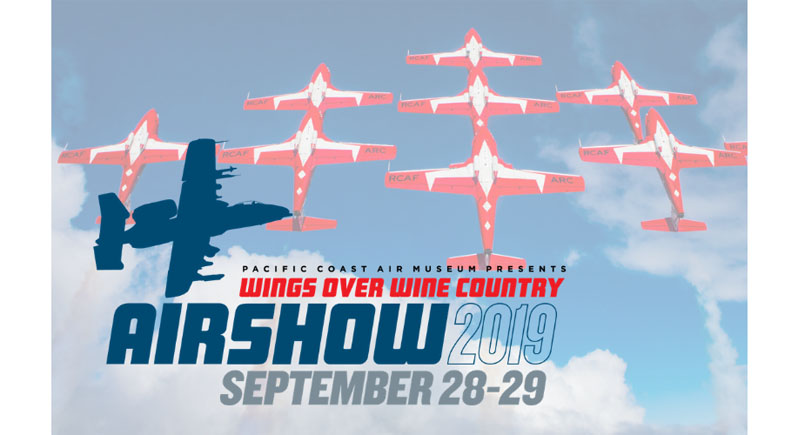 2019 Wings Over Wine Country Air Show logo superimposed over a photo of the Canadian Forces Snowbirds aerobatic demonstration team in flight