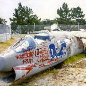 photo of wrecked F-8 Crusader fighter plane covered in graffiti before restoration