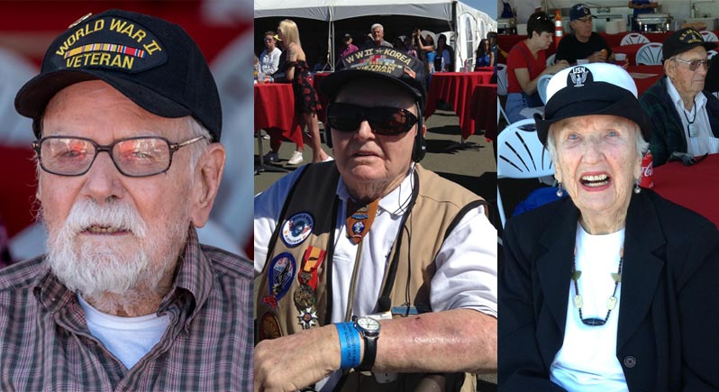 composite photo of three elderly veterans, two men and a woman WAVE