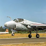 A-6E Intruder jet attack aircraft landing at Charles M. Schulz-Sonoma County Airport in 1994